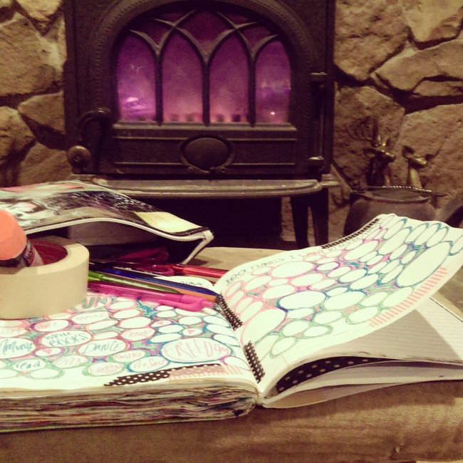 journaling by the fire